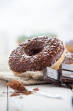 Sweet donut with chocolate Stock Images