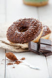 Sweet donut with chocolate Royalty Free Stock Image
