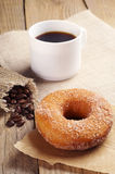 Sweet donut and coffee Stock Photos