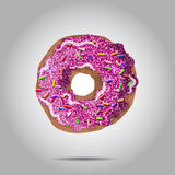 Sweet donut illustratio with pink glaze and many decorative sprinkles. Can be used as card or t-shirt print  for label Royalty Free Stock Image