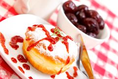 Sweet donut with jam Royalty Free Stock Photos