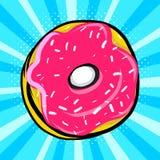 Sweet donut in pop art royalty free illustration