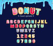 Sweet donut type font with different glaze. Colorful donut alpha. Bet card for party, poster or flyer royalty free illustration