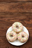 Sweet donut. So sweet that you can not resist to eat it for lunch Royalty Free Stock Photos