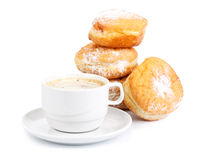 Sweet donuts and cup of black coffee Royalty Free Stock Photos