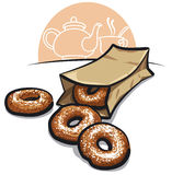 Sweet donuts with powder Royalty Free Stock Photo