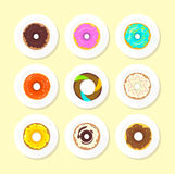 Sweet Donuts Set Design Flat Food Stock Photo