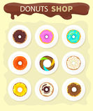 Sweet Donuts Set Design Flat Food Stock Photography