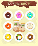 Sweet Donuts Set Design Flat Food Stock Images
