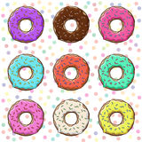 Sweet donuts set with icing Stock Photos