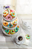Sweet donuts in the sunny kitchen Royalty Free Stock Images
