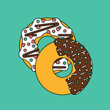 Sweet donuts two vector illustration