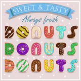 Sweet Donuts. Vintage sweet font Royalty Free Stock Photography