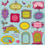 Sweet Doodle Frames with Birds Royalty Free Stock Photography