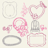 Sweet Doodle Frames with Birds and Flower Elements Royalty Free Stock Photos