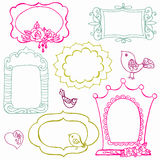 Sweet Doodle Frames with Birds and Flower Elements Stock Photos