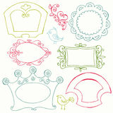 Sweet Doodle Frames with Birds and Flower Elements Royalty Free Stock Image
