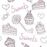 Sweet doodle pattern with cupcakes, cakes, candies and  hearts. Vector hand drawn seamless pattern. Sweet doodle pattern with cupcakes, cakes, candies and hearts Stock Image