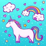 Cute unicorn on a blue background with a rainbow, clouds, hearts and stars. Sweet doodle unicorn. Vector illustration for kids Royalty Free Stock Image