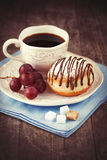 Sweet doughnut and coffee Royalty Free Stock Photo
