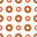 Sweet Doughnut Seamless Pattern in Flat Design Royalty Free Stock Image