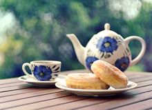 Sweet doughnuts. And tea in the garden Royalty Free Stock Photo