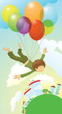 Sweet dream. Who in the childhood did not dream to fly over the earth stock illustration