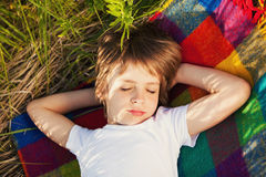 Sweet dream of a boy Royalty Free Stock Photos