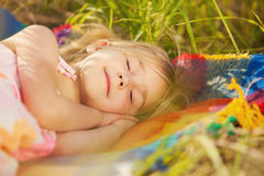 Sweet dream of a little girl Stock Images