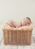 Sweet dream newborn baby in a big basket Royalty Free Stock Photo