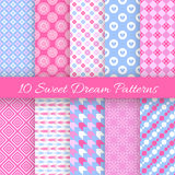 Sweet dream seamless patterns. Vector illustration Stock Images