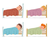 Sweet dream sleep man woman children boy girl bed rest night blanket pillow cartoon isolated set design vector