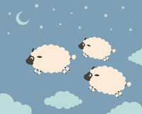 Sweet Dreams. Clouds among the sheep jump Royalty Free Stock Image