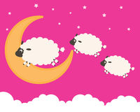 Sweet Dreams. Clouds among the sheep jump Stock Photography