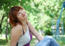 Sweet dreams. Portrait beautiful woman in garden Stock Photography