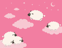Sweet Dreams. Clouds among the sheep jump Royalty Free Stock Photos