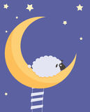Sweet Dreams. Put the month climbed the stairs sat dreaming moon Stock Photos