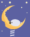 Sweet Dreams. Hungry sheep climbed the stairs with a dream bear fruit month Royalty Free Stock Image