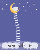 Sweet Dreams. Dream sheep climbed the stairs to the moon is at her friends Stock Images