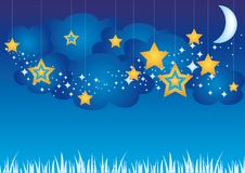 Sweet Dreams. Sky with stars pendants and clouds, elements for your design Royalty Free Stock Photography