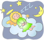Sweet Dreams Angel/eps. Illustration of a little girl angel sleeping on a cloud...eps file available Royalty Free Stock Photo