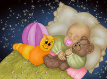 Sweet dreams baby girl. A   baby girl is sleeping with her toys Stock Image