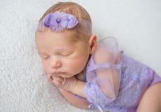 Beautiful newborn baby girl sleeping. Sweet dreams of beautiful baby girl in delicate purple bodysuit Royalty Free Stock Image