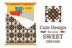 Sweet dreams bed sheets geometric pattern. Sweet dreams deisgn bed sheets with decorative geometric ornamental pattern, and pattern piece, vector illustration Royalty Free Stock Photo