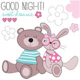 Sweet dreams bunny and bear vector illustration Royalty Free Stock Images