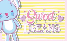 Sweet dreams card with cute bunny. Vector illustration graphic design Stock Image