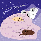 Sweet dreams card with polar bear and cats stock illustration