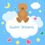 Sweet dreams colorful vector Illustration. Sleep concept. Beautiful poster for baby rooms or bedroom. Children Vector Illustration