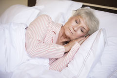 Sweet dreams. In comfortable bed stock photography