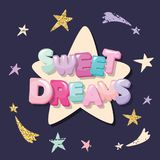 Sweet dreams cute design for pajamas, sleepwear, t-shirts. Cartoon letters and stars on a dark background. Stock Photos